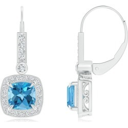 Vintage-Inspired Cushion Swiss Blue Topaz Leverback Earrings found on Bargain Bro India from Angara Jewelry for $2259.00