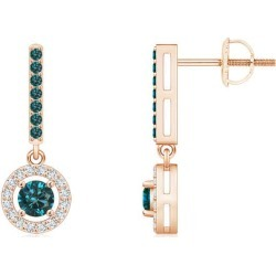 Floating Round Blue Diamond Halo Drop Earrings found on Bargain Bro from Angara Jewelry for USD $531.24