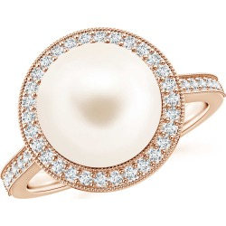Freshwater Cultured Pearl Halo Ring with Milgrain found on Bargain Bro Philippines from Angara Jewelry for $1469.00