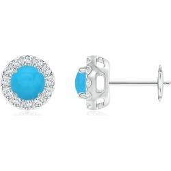 Turquoise Stud Earrings with Bar-Set Diamond Halo found on Bargain Bro India from Angara Jewelry for $1769.00