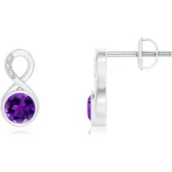Bezel-Set Amethyst Infinity Stud Earrings with Diamonds found on Bargain Bro India from Angara Jewelry for $1259.00