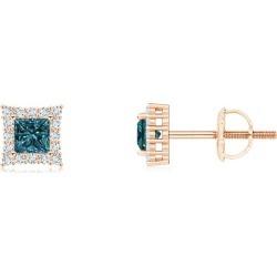 Princess-Cut Blue Diamond Halo Stud Earrings found on Bargain Bro from Angara Jewelry for USD $432.44