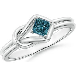 Princess-Cut Solitaire Blue Diamond Infinity Knot Ring found on Bargain Bro from Angara Jewelry for USD $614.84