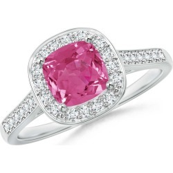 Classic Cushion Pink Sapphire Ring with Diamond Halo found on Bargain Bro Philippines from Angara Jewelry for $4459.00