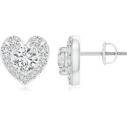 Diamond Stud Earrings with Heart-Shaped Halo