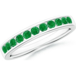 Channel Set Half Eternity Emerald Wedding Band found on Bargain Bro India from Angara Jewelry for $1559.00