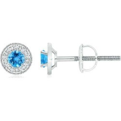 Swiss Blue Topaz Margarita Stud Earrings with Diamond Halo found on Bargain Bro India from Angara Jewelry for $1129.00