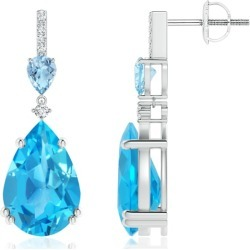 Pear-Shaped Swiss Blue Topaz and Aquamarine Drop Earrings found on Bargain Bro India from Angara Jewelry for $1889.00