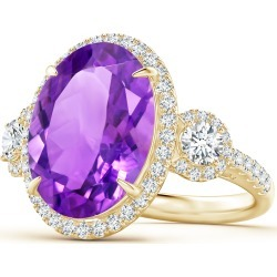 GIA Certified Oval Amethyst Three Stone Ring with Diamond found on Bargain Bro India from Angara Jewelry for $6069.00