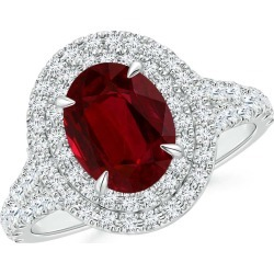GIA Certified Oval Ruby Double Halo Ring found on Bargain Bro Philippines from Angara Jewelry for $22949.00