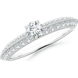 Diamond Solitaire Knife Edge Engagement Ring with Accents found on Bargain Bro Philippines from Angara Jewelry for $1409.00