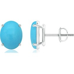 Prong-Set Oval Solitaire Turquoise Stud Earrings found on Bargain Bro India from Angara Jewelry for $1259.00