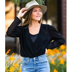 Willow & Root Surplice Chiffon Bodysuit found on Bargain Bro from buckle.com for USD $28.08