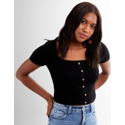 Miss Me Ribbed Square Neck Cropped Top