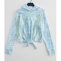 Girls - Poof Hacci Front Tie Hoodie found on Bargain Bro from buckle.com for USD $18.96