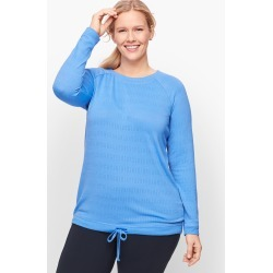 Pointelle Stripe Raglan Pullover Sweater - Blue Wave - 1X Talbots found on Bargain Bro Philippines from Talbots for $29.99
