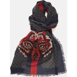 Gucci Scarves - GG Wool Stole With Wolf DARK GREY WOOL 100% One Size