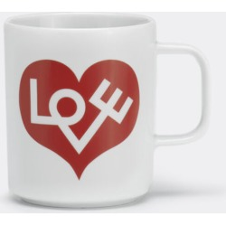 Vitra Tea And Coffee - 'Love Heart' coffee mug, red, squared handle in White, crimson Ceramics found on Bargain Bro from wallpaper for £23
