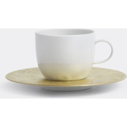 Rosenthal Tea And Coffee - 'Magic Flute Sarastro' low cup with saucer, tall in White, Gold Porcelain