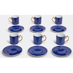 L'Objet Tea And Coffee - 'Lapis' espresso cup and saucer, set of six in Blue, Gold Porcelain