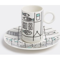 L'Abitare Tea And Coffee - 'Metropolitan fish' coffee cup and saucer in Grey, Blue, Black Porcelain