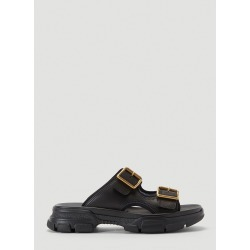 Gucci Buckle Leather Slides in Black size UK - 07 found on Bargain Bro UK from LN-CC (UK)