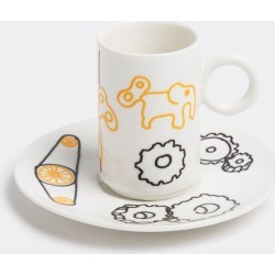 L'Abitare Tea And Coffee - 'Mechanical elephant' coffee cup and saucer in Yellow, Red, Black Porcelain
