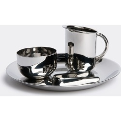 Alessi Tea And Coffee - 'Bauhaus', sugar and creamer set in Silver stainless steel