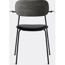 Menu Furniture - 'Co Chair' with armrests, black back in Black Powder Coated Steel, Plywood,
