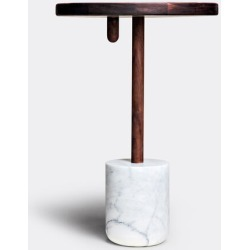 Luce di Carrara Furniture - 'Monolithos' side table in White, Walnut Arabescato Cervaiole marble, W found on Bargain Bro UK from wallpaper
