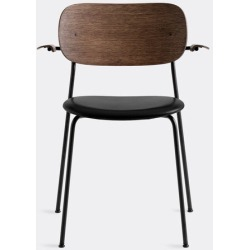 Menu Furniture - 'Co Chair' with armrests, brown back in Black Powder Coated Steel, Plywood,