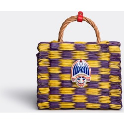 Heimat - Atlantica Bags and Accessories - 'Costance' small bag, purple in Yellow / Purple Reed, porcelain, leather