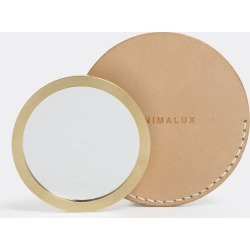 Minimalux Beauty and Grooming - Brass pocket mirror with leather sleeve in Natural Brass, Mirror Glass, Natural L found on Bargain Bro UK from wallpaper