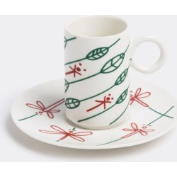 L'Abitare Tea And Coffee - 'Dragonflies' in the wind coffee cup and saucer in Multicolour Porcelain