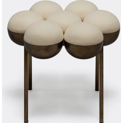 Bohinc Studio Furniture - 'Saturn' pouf in Cream Steel, wool found on Bargain Bro UK from wallpaper