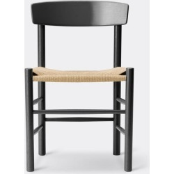 Fredericia Furniture Furniture - 'J39' chair, black in Black lacquered Oak, Natural paper yarn base found on Bargain Bro UK from wallpaper
