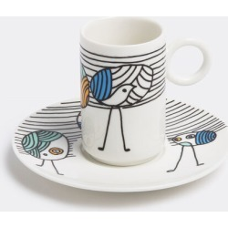 L'Abitare Tea And Coffee - 'Vain peacock' coffee cup and saucer in Multicolour Porcelain