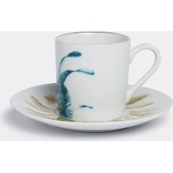 Vito Nesta Studio Tea And Coffee - 'Las Palmas' coffee cup and saucer, set of two in Blue, beige porcelain