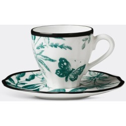 Gucci Tea And Coffee - 'Herbarium' coffee cup with saucer, set of two in Emerald Porcelain