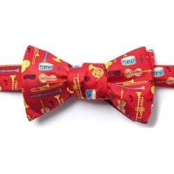 Musical Instruments Self-Tie Bow Tie by Alynn Bow Ties -  Red Silk
