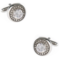 Glitzier Round Diamond Cufflinks by Principessa Regale -  White Metal