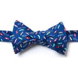 Ouch! Self-Tie Bow Tie by Alynn Bow Ties -  Navy Blue Silk