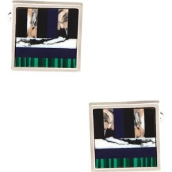 Art Stripe Cufflinks by Principessa Tradizionale -  Multicolor Metal