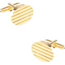 Solid Engraved Oval Cufflinks by Enrico Pardini -  Gold Metal