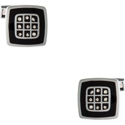 Decorated Square Cufflinks by American Necktie Co. -  Black Metal