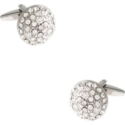 Blinged Out Round Cufflinks by Principessa Regale -  White Metal