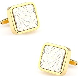 3D Floral Cufflinks by Silk Rhino -  Gold Metal
