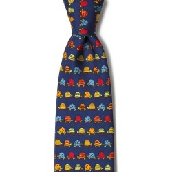 Box Turtles Tie by Alynn -  Navy Blue Silk