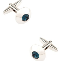 Wide Embellished Dome Cufflinks by Silk Rhino -  Blue Metal