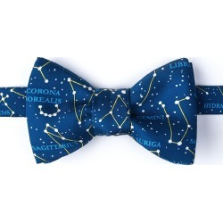 Connect The Dots Self-Tie Bow Tie by Alynn -  Navy Blue Silk